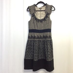 TOCCA Dress Tweed embroidery dress 10 Black Gray